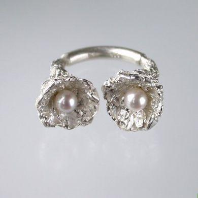 Crush Ring Kehle, Silber Perlen