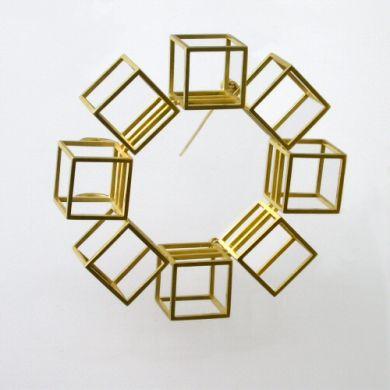 Cube Brosche, 750/-Gold