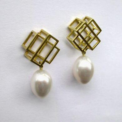 Cube Ohrringe, 750/-Gold Perlen