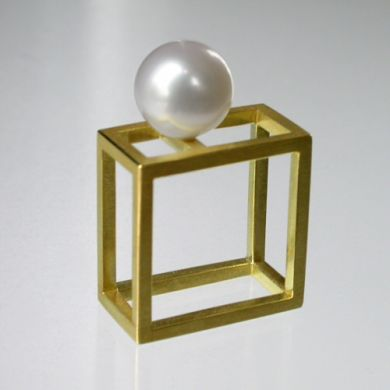 Cube Ring, 750/-Gold Perle