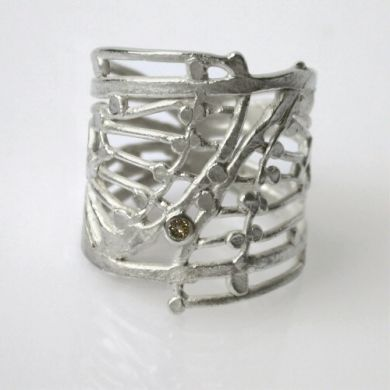 Ring Flügel, Silber Brillant