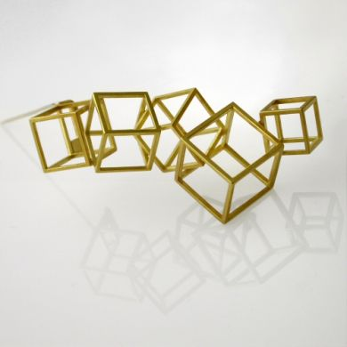 Cube Brosche Cumulus, 750/-Gold