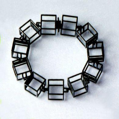 Cube Armband W15, Silber Schwarz