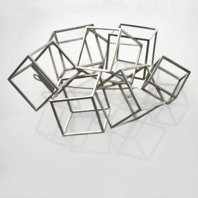 Cube Brosche Cumulus, Silber