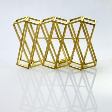 Cube Brosche XXX, 750/-Gold
