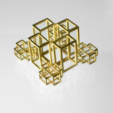 Cube Brosche Hof, 750/-Gold
