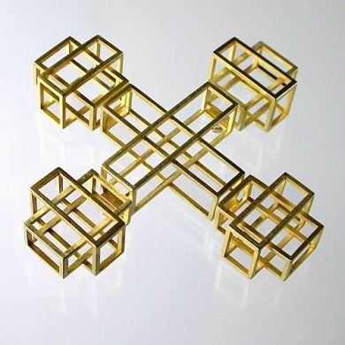 Cube Brosche Kreuz, 750/-Gold