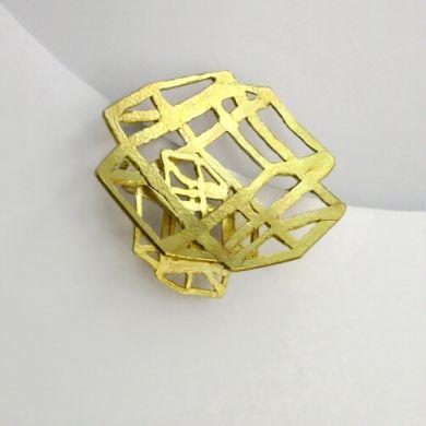 Line Brosche Einfluss, 750/-Gold