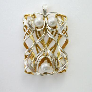 Line Anhänger, Silber Gold Perlen