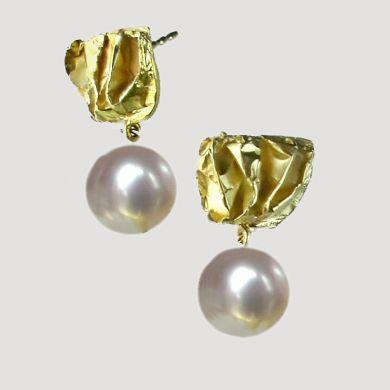 Crush Ohrringe Falt, 750/-Gold Perle
