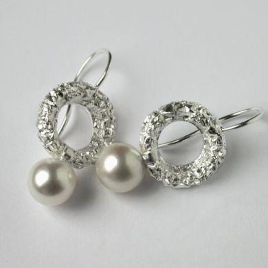 Crush Ohrringe Kreis, Silber Perlen