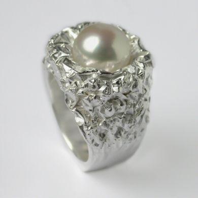 Crush Ring Nest, Silber Perle