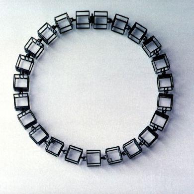 Cube Kette W15, Silber Schwarz, Brillanten