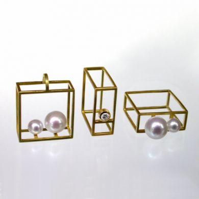 Cube Ring, Anhänger, 750/-Gold Perlen Brillant